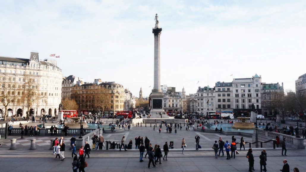 Trafalgar Square - what to see in London with Irish Rugby Tours